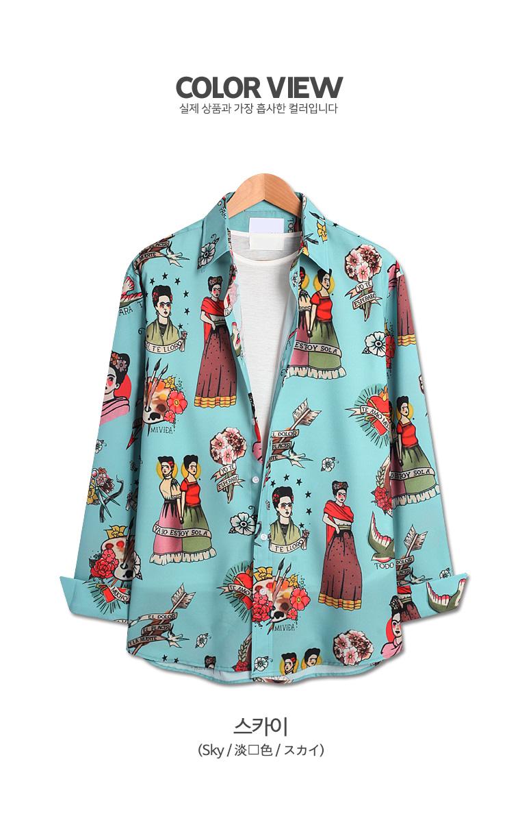 소녀 프린팅 오버핏 긴팔셔츠 (ZT232) - 탑보이, 35,800원, 상의, 셔츠